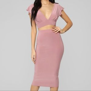 Fashion Nova Laura Slinky Skirt Set - Mauve